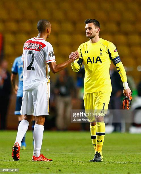 Fabinho of Monaco shakes hands with Hugo Lloris of Tottenham Hotspur after the UEFA Europa League group J match between AS Monaco FC and Tottenham...