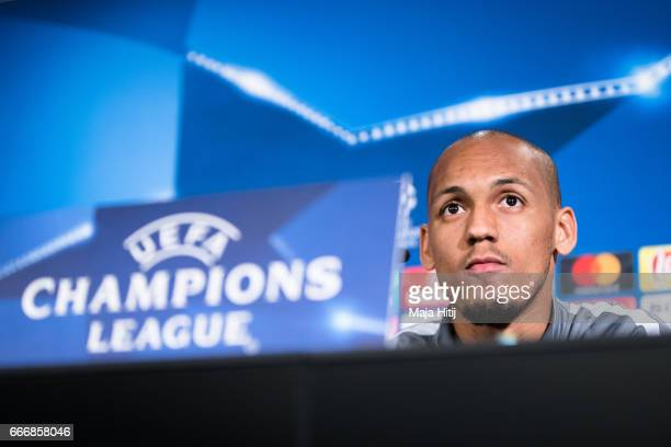 Fabinho of Monaco speaks during a press conference prior the UEFA Champions League Quarter Final First Leg match between Borussia Dortmund and AS...