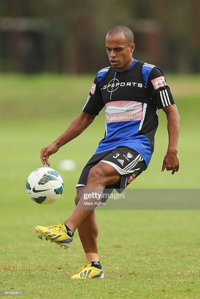 Fabio Alves kicks during a Sydney FC A-League training session at Macquarie Uni on February 18, 2013 in Sydney, Australia.