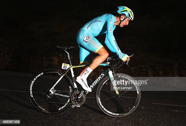Fabio Aru of Italy and Astana Pro Team competes during stage seven the individual time trial of the Paris Nice cycling race between Nice and Col...