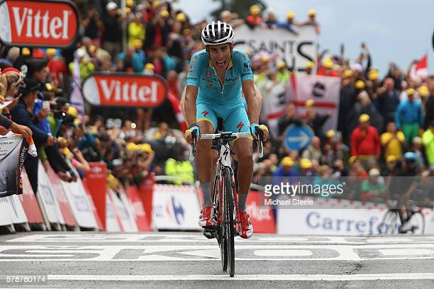 Fabio Aru of Italy and Astana Pro Team crosses the finishing line during the146km stage nineteen of Le Tour de France from Albertville to...