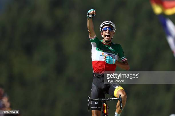 Fabio Aru of Italy and the Astana Pro Cycling team wins stage five of the 2017 Tour de France a 1605km road stage from Vittel to La Planche des...