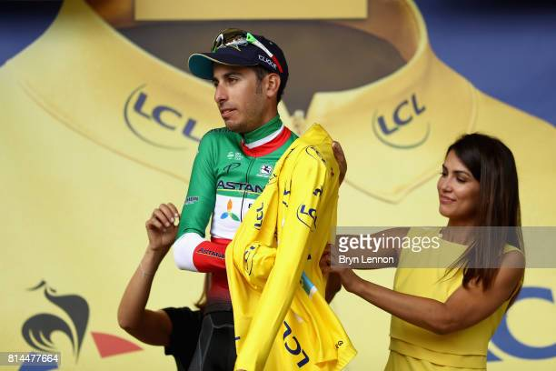 Fabio Aru of Italy riding for Astana Pro Team celebrates retaining the yellow jersey after stage 13 of the Le Tour de France 2017 a 101km stage from...