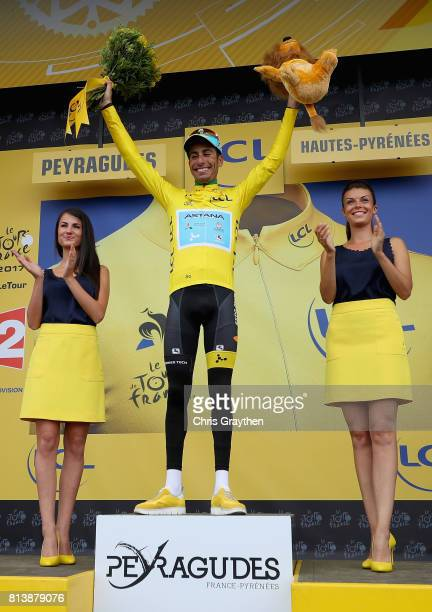 Fabio Aru of Italy riding for Astana Pro Team celebrates winning the yellow jersey after stage 12 of the Le Tour de France 2017 a 2145km stage from...
