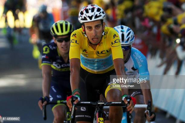 Fabio Aru of Italy riding for Astana Pro Team in the leader's jersey crosses the finish line during stage 14 of the 2017 Le Tour de France a 1815km...