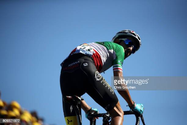 Fabio Aru of Italy riding for Astana Pro Team looks back as he rides to win the stage during stage five of the 2017 Le Tour de France a 1605km stage...