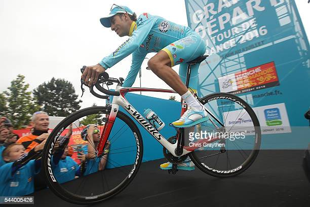 Fabio Aru of Italy riding for the Astana Pro Team rides off the stage during the team presentation ahead of the 2016 Le Tour de France on June 30...