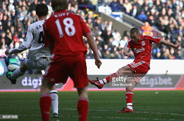 Fabio Aurelio of Liverpool scores his team's third goal during the Barclays Premier League match between Bolton Wanderers and Liverpool at The Reebok...