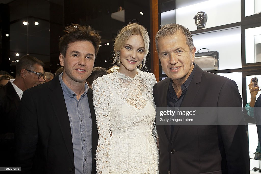 Fabio Bartelt. Mario Testino and Carol Trentini attend the Dolce&Gabbana cocktail party on April 9, 2013 in Sao Paulo, Brazil.