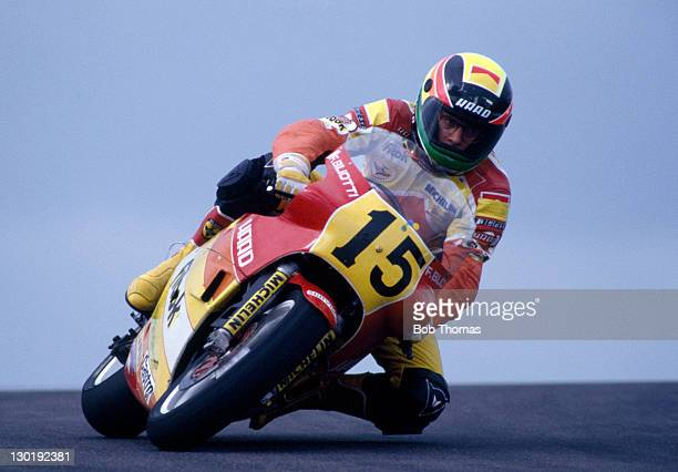 Fabio Bilotti of Italy riding a Honda RS500 during the Shell Oil British Motorcycle Grand Prix at Donington Park circa August 1987