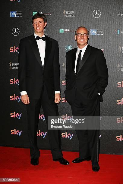 Fabio Bonifazi and Francesco Miccich attend the '60 David Di Donatello' at Studio on April 18 2016 in Rome Italy