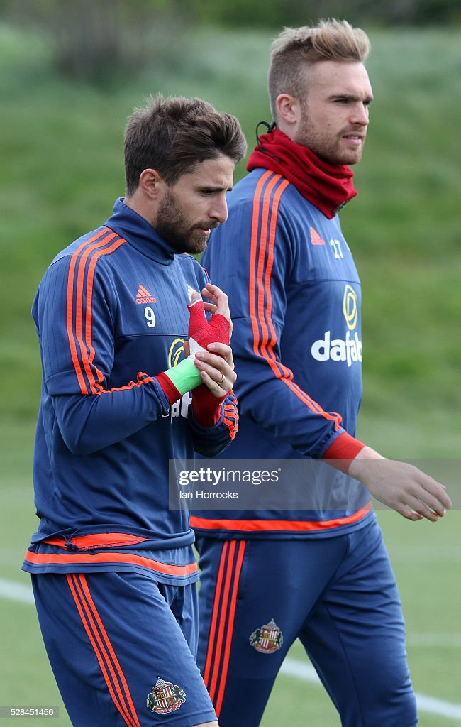 Fabio Borini (L) and Jan Kirchhoff during a Sunderland training session at The Academy of Light on May 5, 2016 in Sunderland, England.