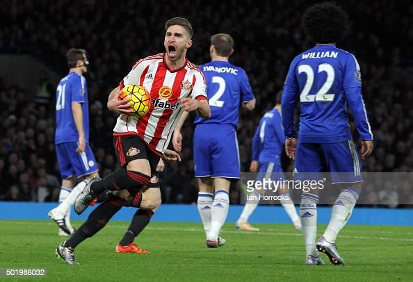 Fabio Borini celebrates scoring the first Sunderland goal during the Barclays Premier League match between Chelsea and Sunderland at Stamford Bridge...