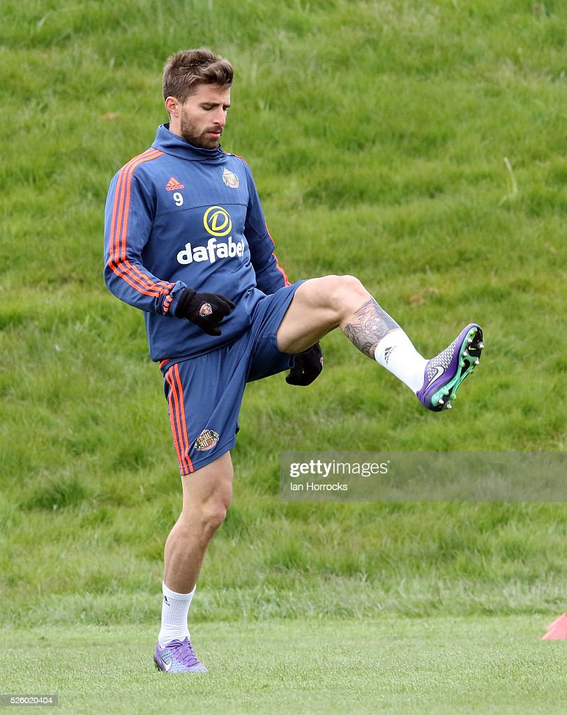 Fabio Borini during a Sunderland AFC training session at The Academy of Light on April 29, 2016 in Sunderland, England.