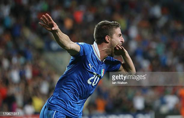 Fabio Borini of Italy celebrates scoring the first goal during the UEFA European U21 Championships Semi Final match between Italy and the Netherlands...