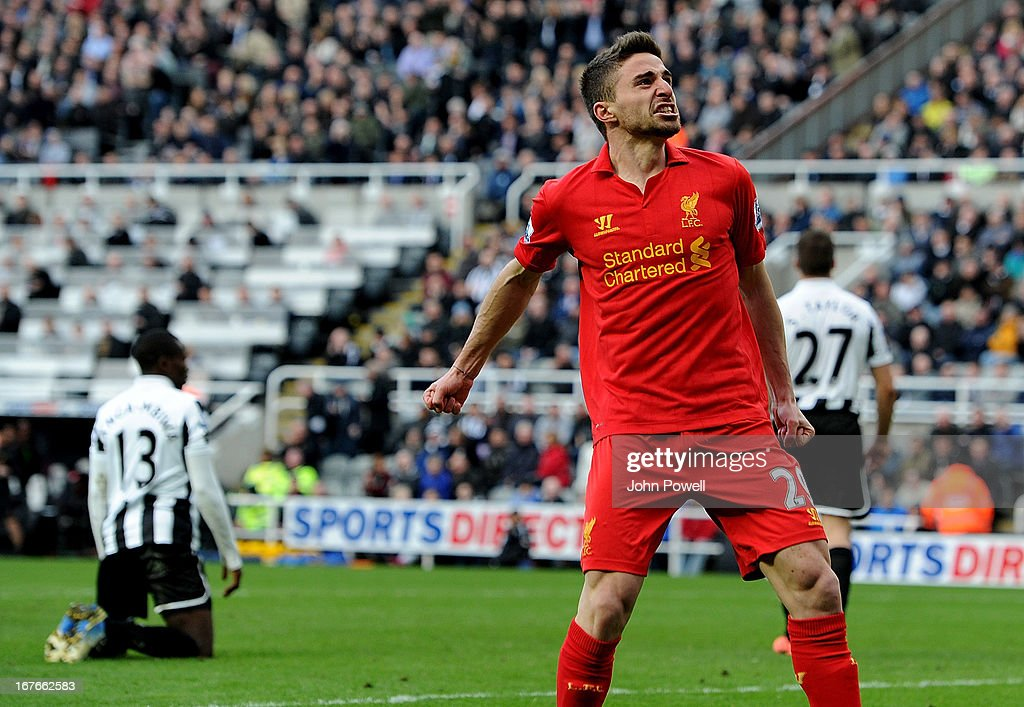 <a gi-track='captionPersonalityLinkClicked' href=/galleries/search?phrase=Fabio+Borini&family=editorial&specificpeople=5565045 ng-click='$event.stopPropagation()'>Fabio Borini</a> of Liverpool celebrates after scoring the fifth goal during the Barclays Premier League match between Newcastle United and Liverpool at St James' Park on April 27, 2013 in Newcastle upon Tyne, England.