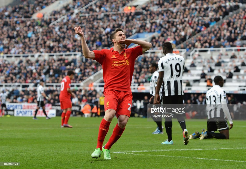 <a gi-track='captionPersonalityLinkClicked' href=/galleries/search?phrase=Fabio+Borini&family=editorial&specificpeople=5565045 ng-click='$event.stopPropagation()'>Fabio Borini</a> of Liverpool celebrates scoring the fifth Liverpool goal during the Barclays Premier League match between Newcastle United and Liverpool at St James' Park on April 27, 2013 in Newcastle upon Tyne, England.