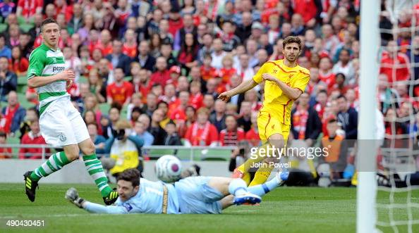 Fabio Borini of Liverpool scores the second goal during the post season friendly match between Shamrock Rovers and Liverpool on May 14 2014 in Dublin...