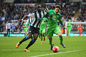 Fabio Borini of Sunderland and Moussa Sissoko of Newcastle United battle for the ball during the Barclays Premier League match between Newcastle...