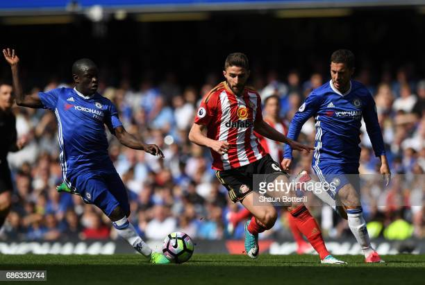 Fabio Borini of Sunderland and N'Golo Kante of Chelsea in action during the Premier League match between Chelsea and Sunderland at Stamford Bridge on...