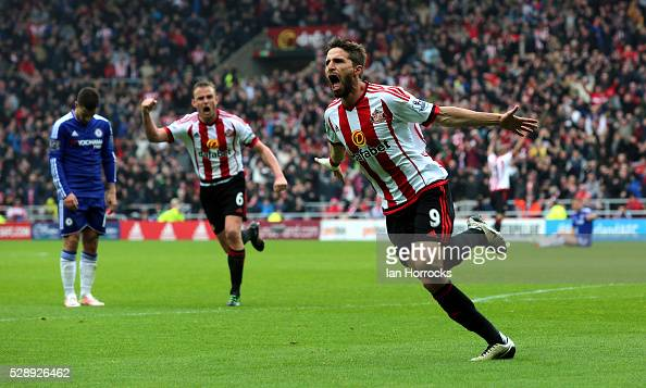 Fabio Borini of Sunderland celebrates after he scores the second Sunderland goal during the Barclays Premier League match between Sunderland and...
