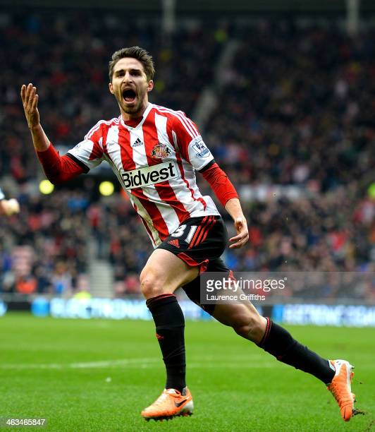 Fabio Borini of Sunderland celebrates as he scores their first goal during the Barclays Premier League match between Sunderland and Southampton at...
