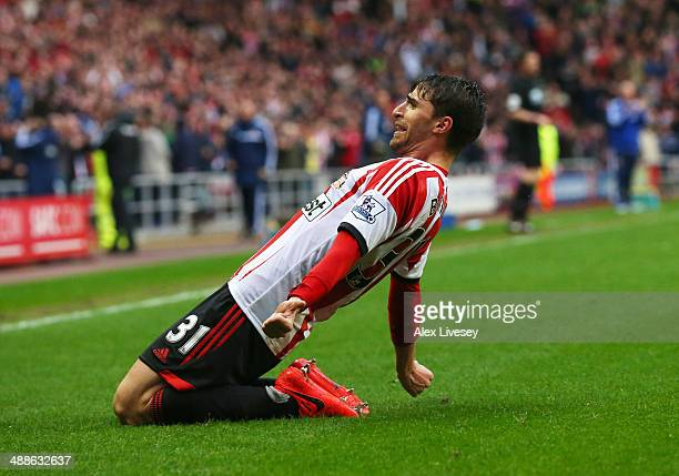 Fabio Borini of Sunderland celebrates as he scores their second goal during the Barclays Premier League match between Sunderland and West Bromwich...
