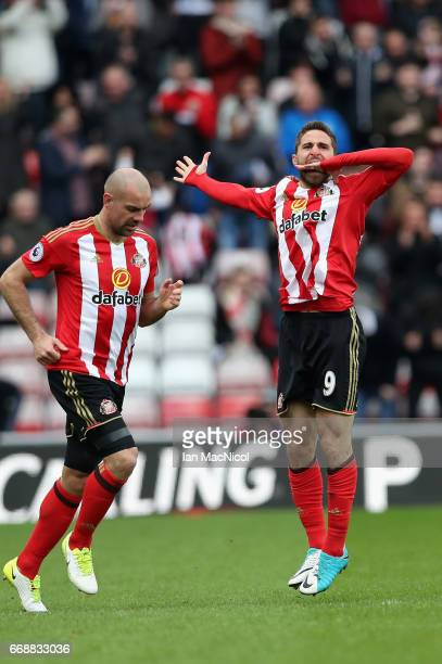 Fabio Borini of Sunderland celebrates scoring his sides second goal during the Premier League match between Sunderland and West Ham United at Stadium...