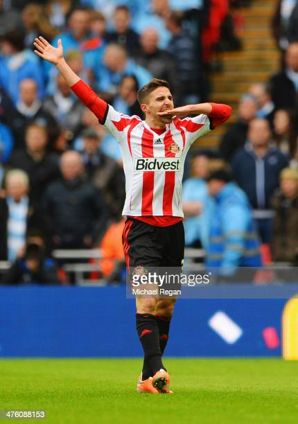 Fabio Borini of Sunderland celebrates scoring the opening goal during the Capital One Cup Final between Manchester City and Sunderland at Wembley...