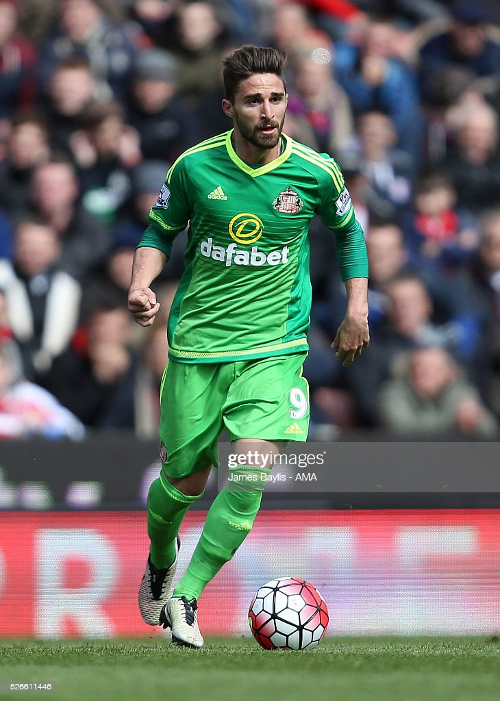 Fabio Borini of Sunderland during the Barclays Premier League match between Stoke City and Sunderland at Britannia Stadium on April 30, 2016 in Stoke on Trent, England