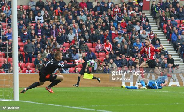 Fabio Borini of Sunderland has his shot saved by Artur Boruc of Bournemouth during the Premier League match between Sunderland AFC and AFC...