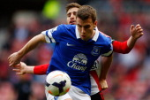 Fabio Borini of Sunderland in action with Seamus Coleman of Everton during the Barclays Premier League match between Sunderland and Everton at the...