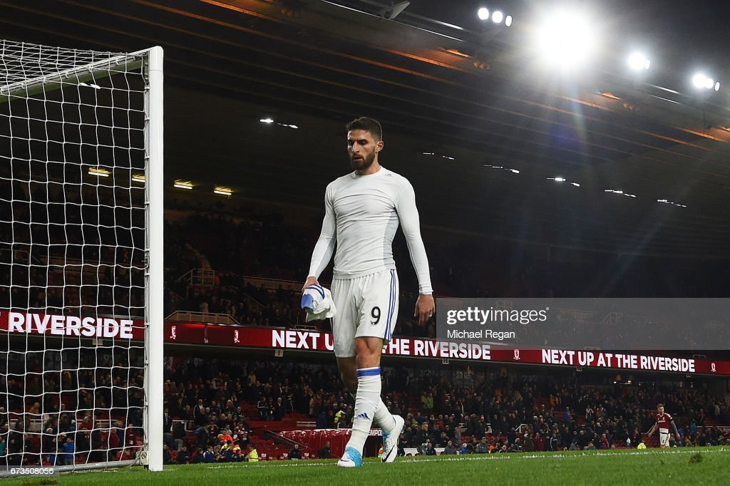 Fabio Borini of Sunderland looks dejected during the Premier League match between Middlesbrough and Sunderland at the Riverside Stadium on April 26, 2017 in Middlesbrough, England.