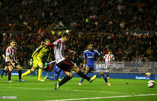Fabio Borini of Sunderland scores their first goal during the Capital One Cup QuarterFinal match between Sunderland and Chelsea at Stadium of Light...