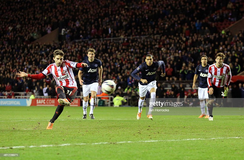 Fabio Borini of Sunderland scores their second goal from the penalty spot during the Capital One Cup Semi-Final, First Leg match between Sunderland and Manchester United at The Stadium of Light on January 07, 2014 in Sunderland, England.