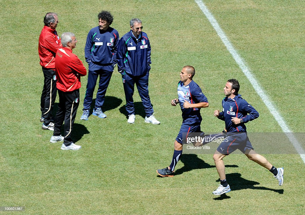 Fabio Cannavaro and Giampaolo Pazzini of Italy during the Italy Training Session on May 25, 2010 in Sestriere near Turin, Italy.