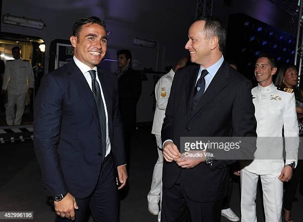 Fabio Cannavaro and Raffaello Porro attend the Launch of New Lamborghini Veneno Roadster on board the Italian aircraft carrier Cavour on December 1...