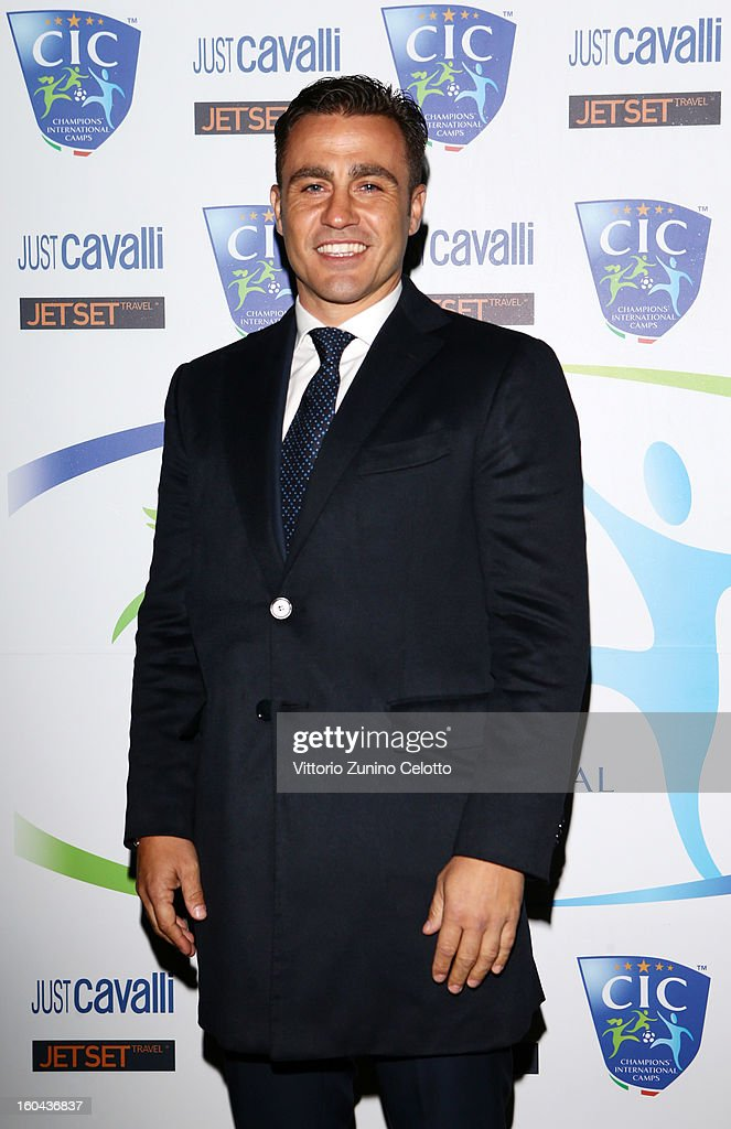 Fabio Cannavaro attends C.I.C. Champions' International Camps photocall at Just Cavalli Cafe on January 31, 2013 in Milan, Italy.