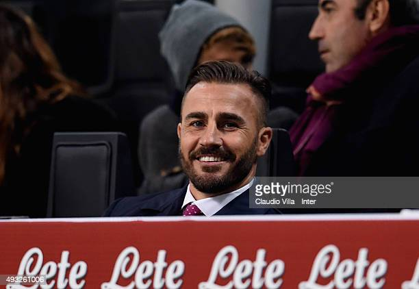 Fabio Cannavaro attends prior to the Serie A match between FC Internazionale Milano and Juventus at Stadio Giuseppe Meazza on October 18 2015 in...