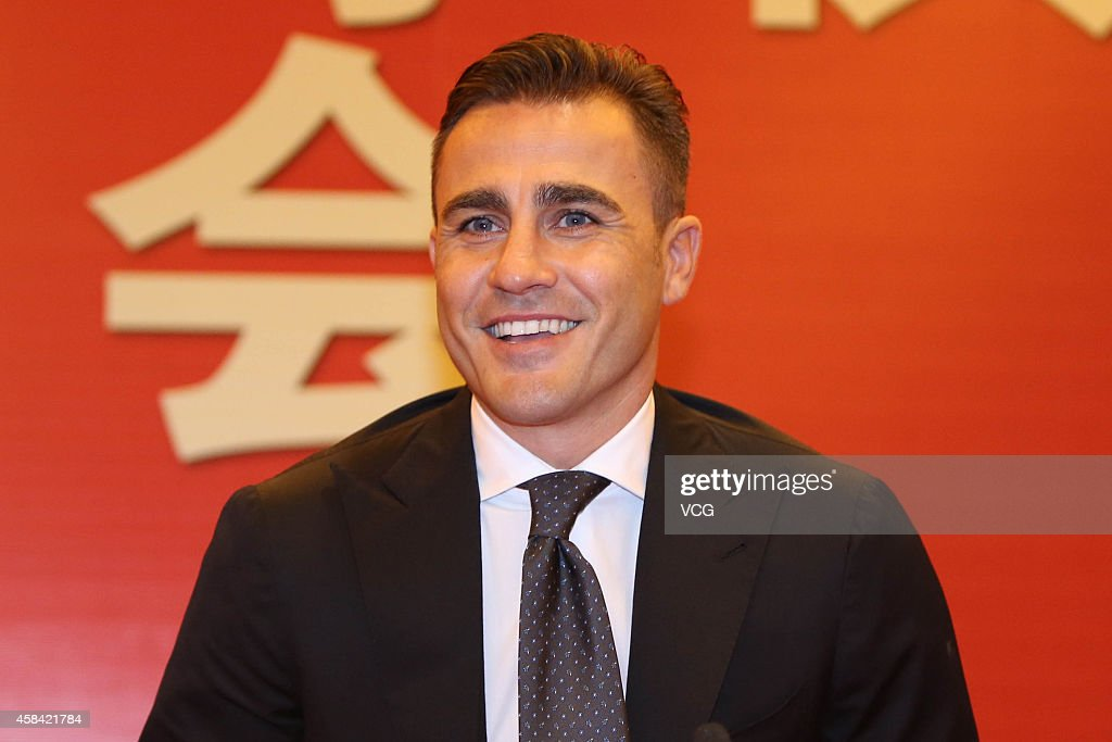 Fabio Cannavaro attends the press conference announcing him to replace Marcello Lippi as the head coach at Guangzhou Evergrande Taobao Football Club...