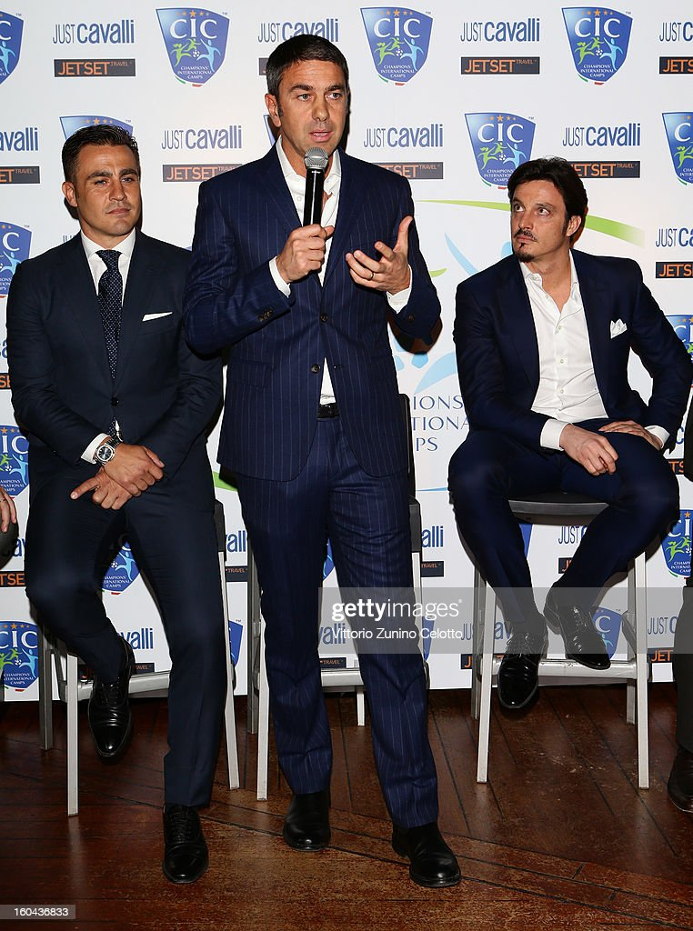 Fabio Cannavaro, Billy Costacurta, Massimo Oddo attend C.I.C. Champions' International Camps photocall at Just Cavalli Cafe on January 31, 2013 in Milan, Italy.