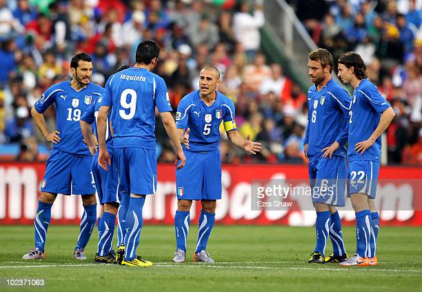 Fabio Cannavaro captain of Italy encourages his dejected team mates following the first goal by Slovakia during the 2010 FIFA World Cup South Africa...