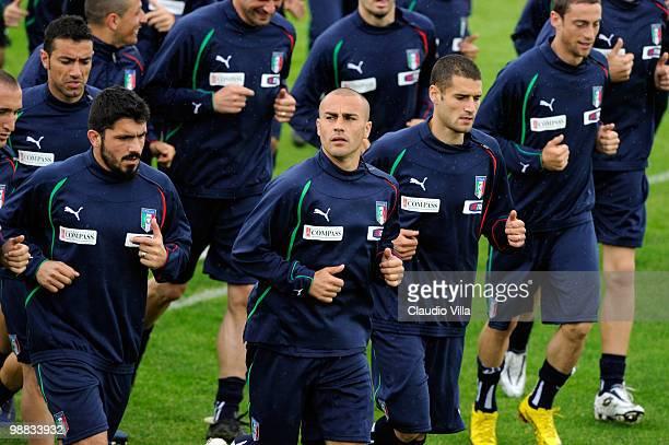Fabio Cannavaro during the Italy Training Session at Sport Center La Borghesiana on May 4 2010 in Rome Italy