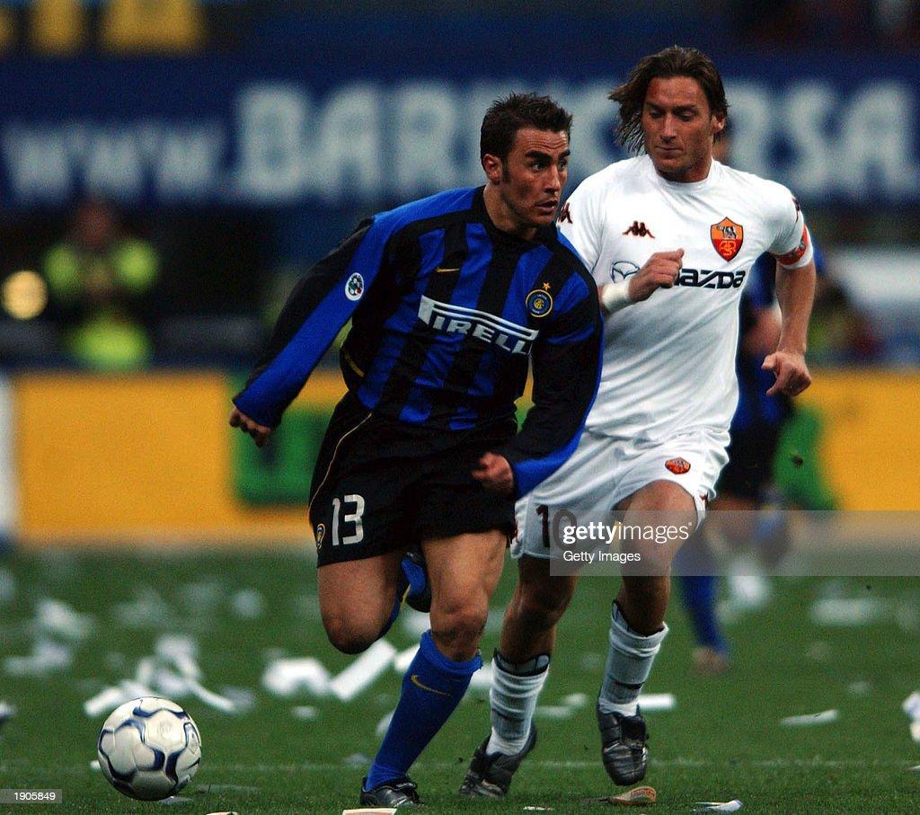 Fabio Cannavaro of Inter Milan and Francesco Totti of Roma in