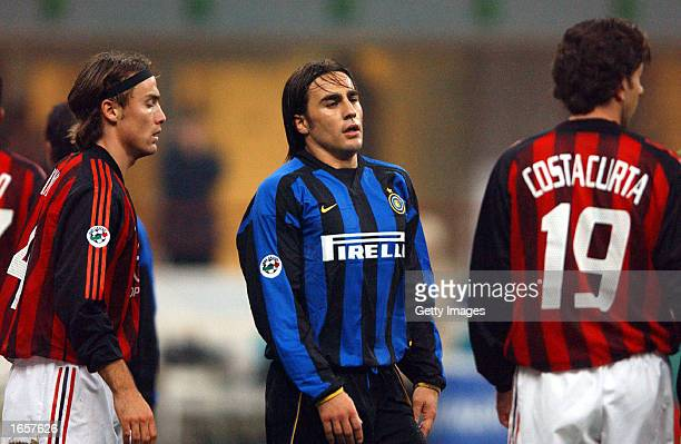 Fabio Cannavaro of Inter Milan during the Serie A match between AC Milan and Inter Milan at the GMeazza Stadium Milan Italy on November 23 2002