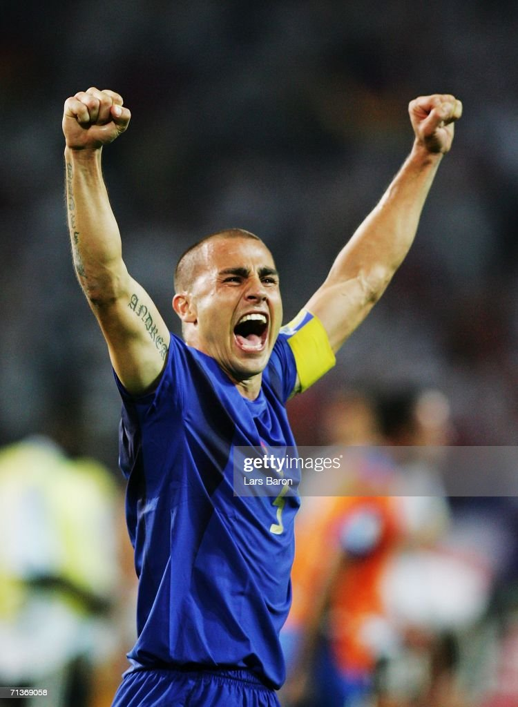 <a gi-track='captionPersonalityLinkClicked' href=/galleries/search?phrase=Fabio+Cannavaro&family=editorial&specificpeople=204335 ng-click='$event.stopPropagation()'>Fabio Cannavaro</a> of Italy celebrates his team's victory at the end of the FIFA World Cup Germany 2006 Semi-final match between Germany and Italy played at the Stadium Dortmund on July 04, 2006 in Dortmund, Germany.