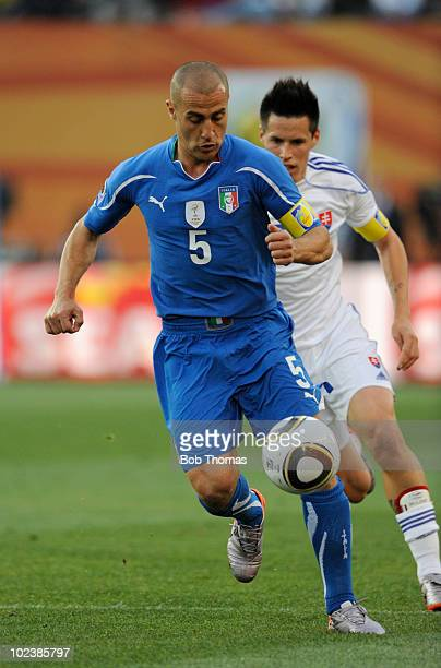 Fabio Cannavaro of Italy during the 2010 FIFA World Cup South Africa Group F match between Slovakia and Italy at Ellis Park Stadium on June 24 2010...