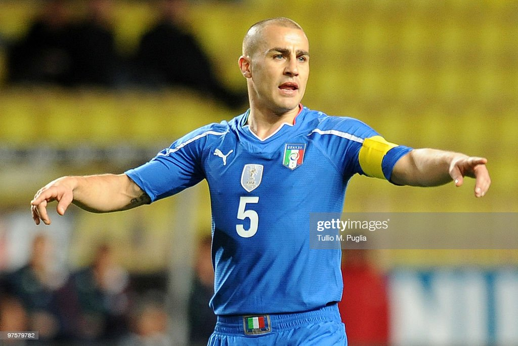 <a gi-track='captionPersonalityLinkClicked' href=/galleries/search?phrase=Fabio+Cannavaro&family=editorial&specificpeople=204335 ng-click='$event.stopPropagation()'>Fabio Cannavaro</a> of Italy gestures during the International Friendly match between Italy and Cameroon at Louis II Stadium on March 3, 2010 in Monaco, Monaco.