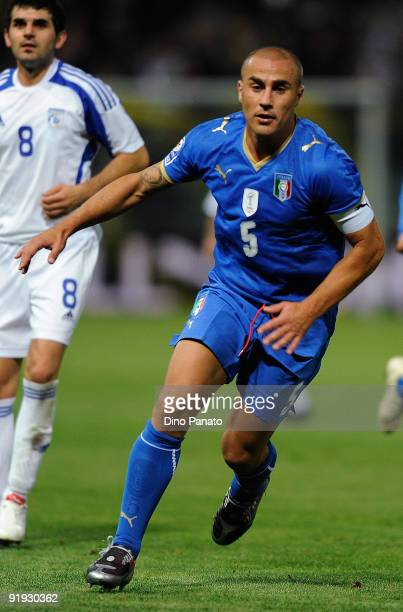 Fabio Cannavaro of Italy in action during the FIFA2010 World Cup Group 8 Qualifier match between Italy and Cyprus at the Tardini Stadium on October...