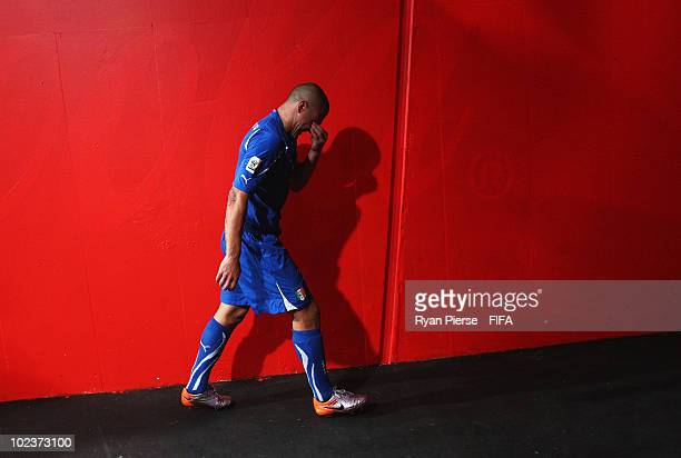 Fabio Cannavaro of Italy is dejected in the players tunnel after the 2010 FIFA World Cup South Africa Group F match between Slovakia and Italy at...